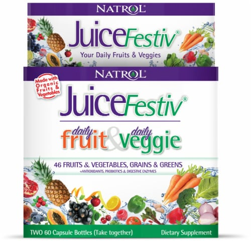 Natrol JuiceFestiv Daily Fruit & Daily Veggie Capsules (2 Pack) Perspective: front