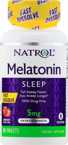 Natrol Melatonin Strawberry Flavored Extra Strength Sleep Tablets 5mg Perspective: front