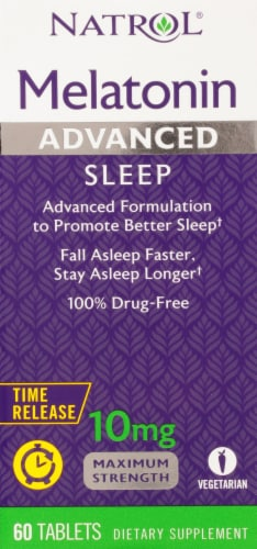 Natrol Advanced Sleep Maximum Strength Melatonin Tablets 10mg Perspective: front