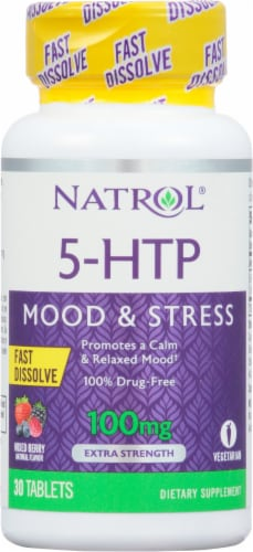 Natrol 100mg 5-HTP Fast Dissolve Perspective: front