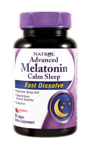 Natrol Advanced Melatonin Calm Sleep Strawberry Fast Dissolve Tablets Perspective: front