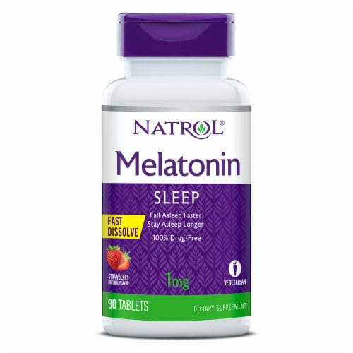 Natrol Fast Dissolve Melatonin Sleep Tablets 1mg Perspective: front