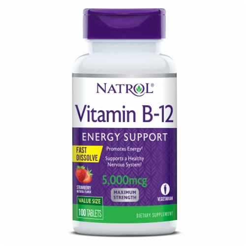 Natrol Vitamin B-12 Energy Support Strawberry Fast Dissolve Tablets 5000 mcg Perspective: front