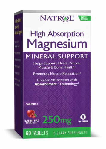 Natrol High Absorption Magnesium Cranberry Apple Flavored Chew Tablets Perspective: front