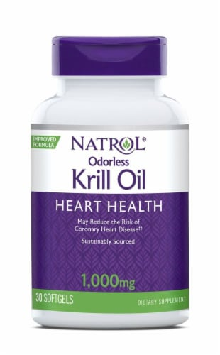Natrol Odorless Krill Oil 1000mg Softgels Perspective: front