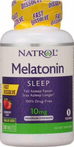 Natrol Melatonin 10mg Fast Dissolve Strawberry Tablets Perspective: front