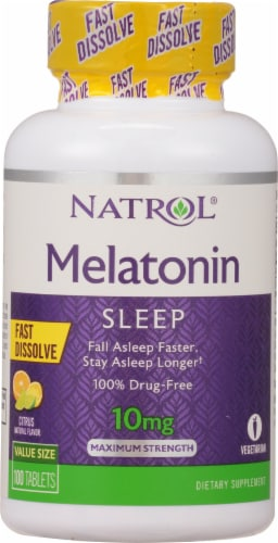 Natrol Citrus Punch Melatonin Fast Dissolve Tablets 10mg Perspective: front