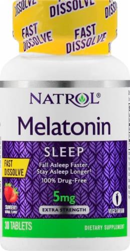 Natrol Strawberry Melatonin Sleep Tablets 5mg Perspective: front