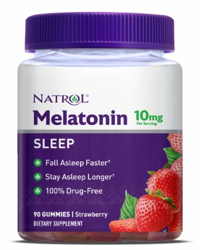 Natrol Strawberry Flavored Melatonin Gummies 10mg Perspective: front