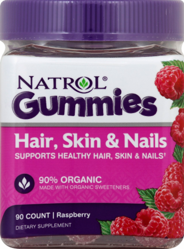 Natrol Hair Skin & Nails Raspberry Flavored Gummies Perspective: front