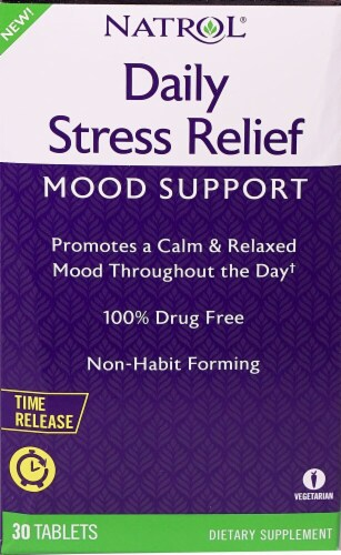 Natrol Daily Stress Relief Mood Support Tablets 30 Count Perspective: front
