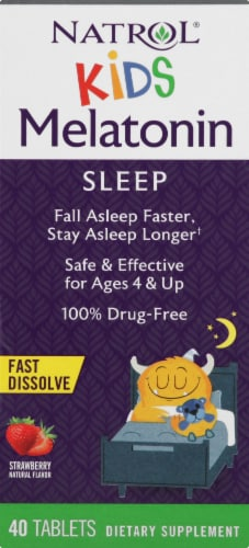 Natrol Kids Fast Dissolve Strawberry Melatonin Tablets 40 Count Perspective: front