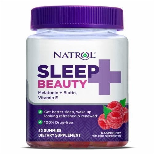 Natrol Raspberry Sleep + Beauty Gummies Perspective: front