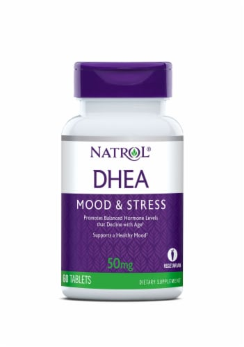Natrol Mood & Stress DHEA Tablets 50mg Perspective: front