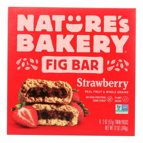 Nature's Bakery Stone Ground Whole Wheat Fig Bar - Strawberry - Case of 6 - 2 oz. Perspective: front