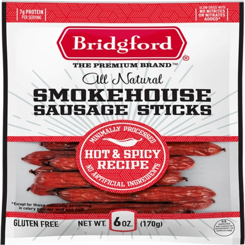 Bridgford Hot & Spicy Smokehouse Sausage Sticks Perspective: front