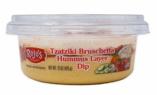 Rojo's Tzatziki Bruschetta Hummus Layer Dip Perspective: front