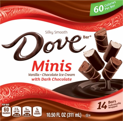 DOVE Minis Ice Cream Bars Variety Mix Vanilla and Chocolate Ice Cream with Dark Chocolate Perspective: front