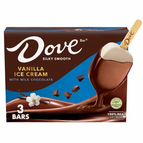 Dove Chocolate Vanilla Ice Cream with Milk Chocolate Bars Perspective: front