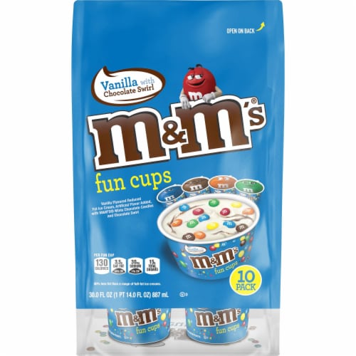 M&M's Vanilla Chocolate Swirl Fun Cups Perspective: front