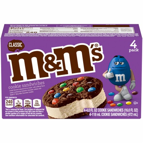 M&M's Classic Ice Cream Cookie Sandwiches 4 Count Perspective: front