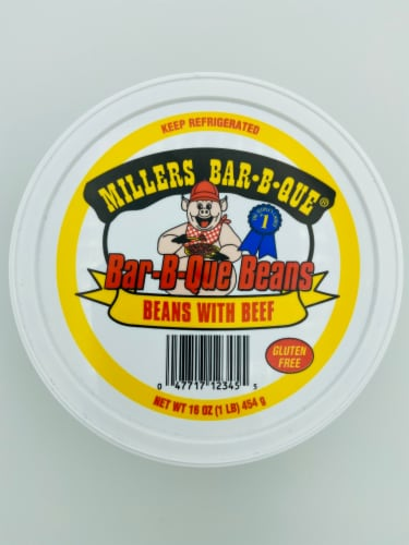 1 lb Millers Beans with Beef BBQ Baked Beans Perspective: front