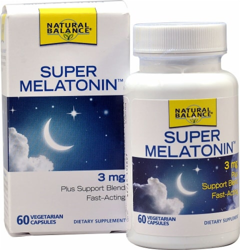 Natural Balance Super Melatonin Vegetarian Capsules 3 mg 60 Count Perspective: front