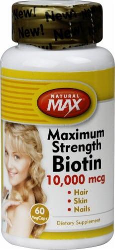 Natural Max Biotin Maximum Strength VegCaps 10000 mcg Perspective: front