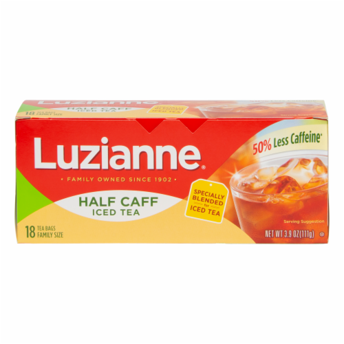 Luzianne Half Caff Family Size Tea Bags Perspective: front