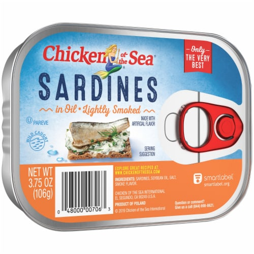 Chicken of the Sea Lightly Smoked Sardines in Oil Perspective: front