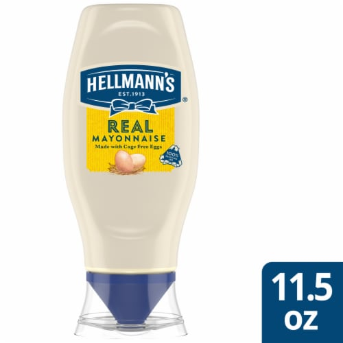 Hellmann's Gluten-Free Real Mayonnaise Squeeze Bottle Condiment Perspective: front