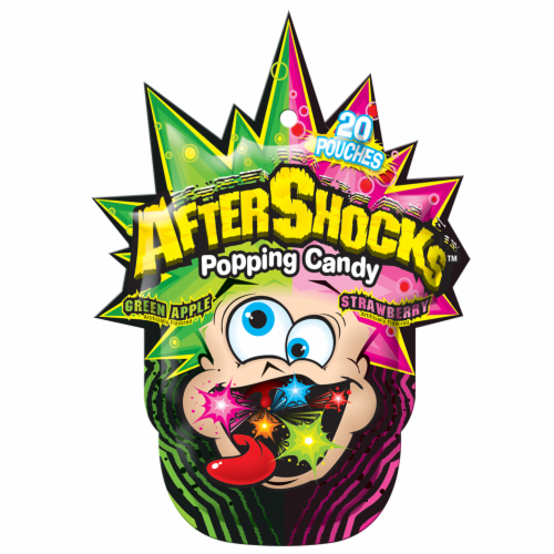 AfterShocks Green Apple & Strawberry Popping Candy Pouches Perspective: front