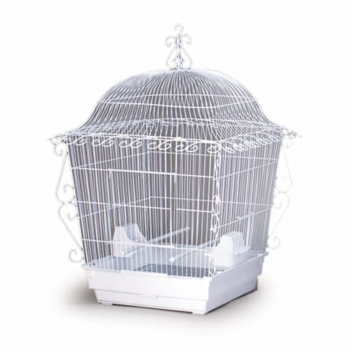 Elegant Scrollwork Bird Cage - White Perspective: front