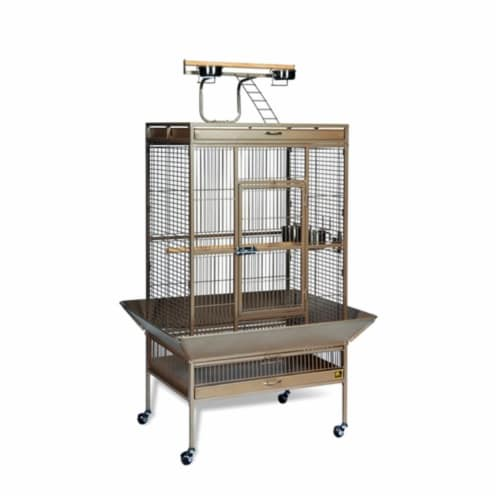 Select Wrought Iron Play Top Parrot Cage - Coco Brown Perspective: front