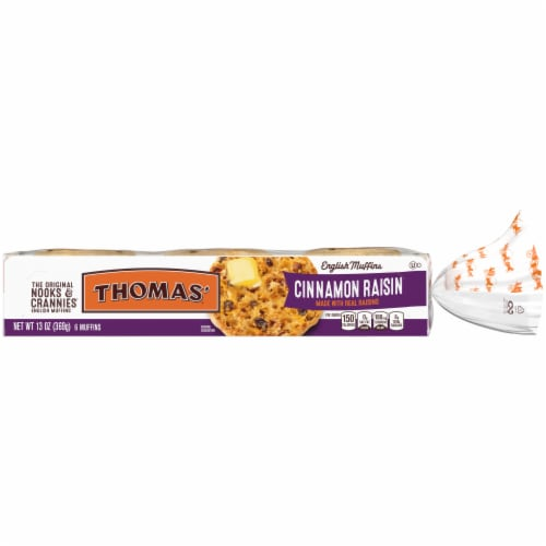 Thomas' Nooks & Crannies Cinnamon Raisin English Muffins Perspective: front