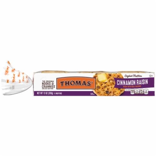 Thomas' Nooks & Crannies Cinnamon Raisin English Muffins Perspective: front