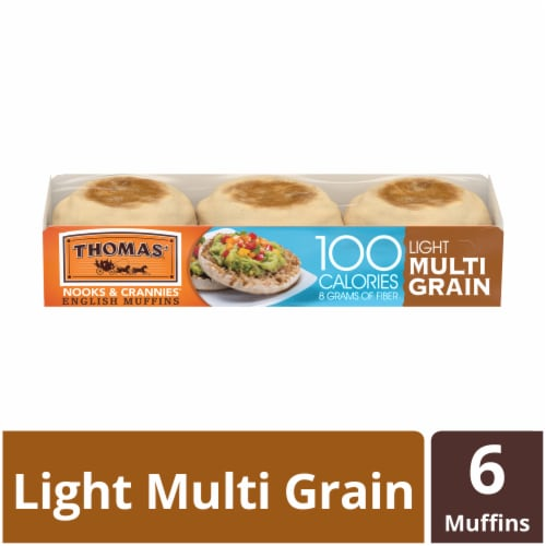 Thomas' Light Multi-Grain English Muffins 6 Count Perspective: front