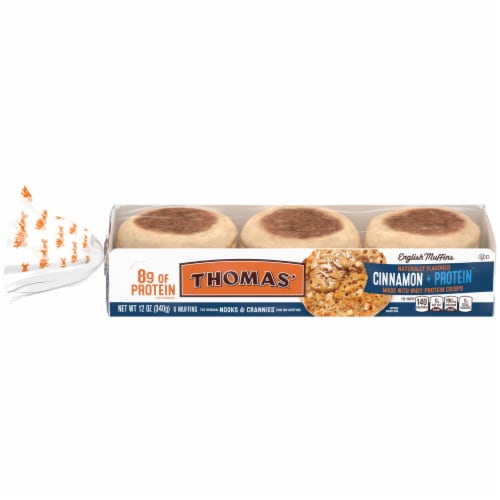 Thomas'® Cinnamon + Protein Nooks & Crannies English Muffins Perspective: front
