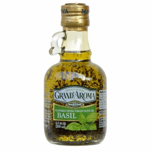 Fratelli Mantova Fu Vincenzo Grand Aroma Basil Flavored Extra Virgin Olive Oil Perspective: front