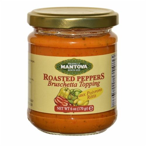 Mantova Roasted Peppers Bruschetta Topping Perspective: front