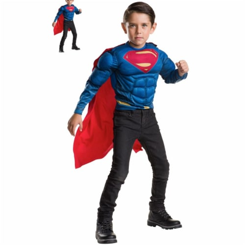 Imagine 275474 Superman Deluxe Muscle Chest Shirt & Cape Set, One Size Perspective: front