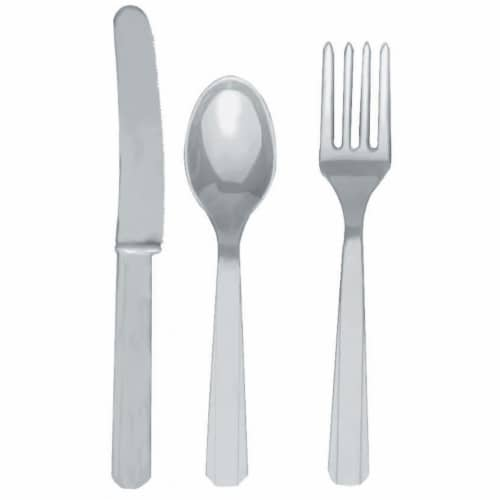 Amscan 236365 Silver Forks, Knives and Spoons- 8 each Perspective: front