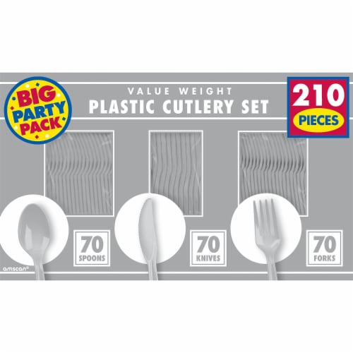 Amscan 43904.18 Cutlery Value Window Box Silver - Pack of 1680 Perspective: front