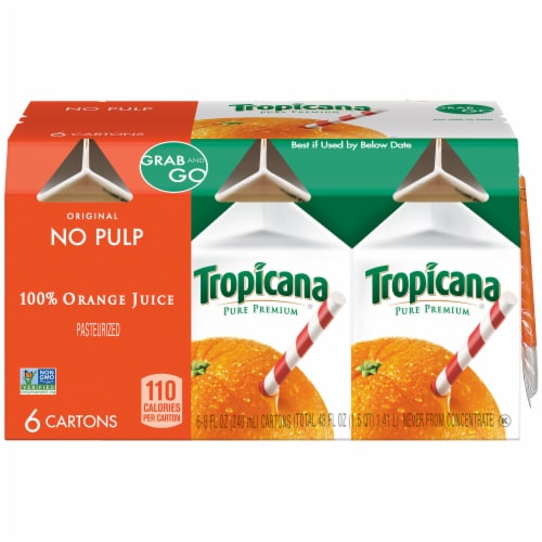 Tropicana Orange Juice No Pulp 6 Pack Perspective: front
