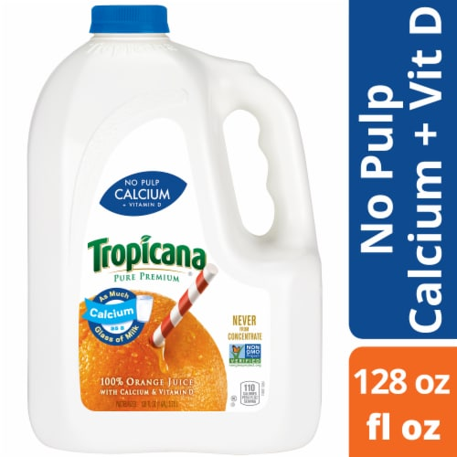 Tropicana Pure Premium No Pulp Orange Juice with Calcium & Vitamin D Perspective: front
