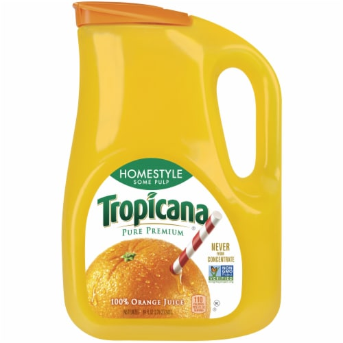 Tropicana Orange Juice Homestyle Some Pulp Bottle Perspective: front