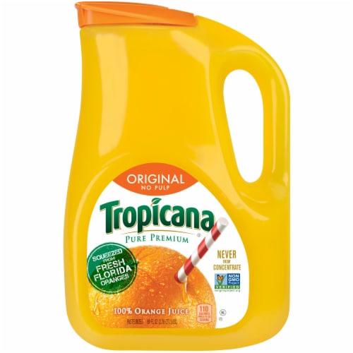 Tropicana Orange Juice No Pulp 89 oz Bottle Perspective: front