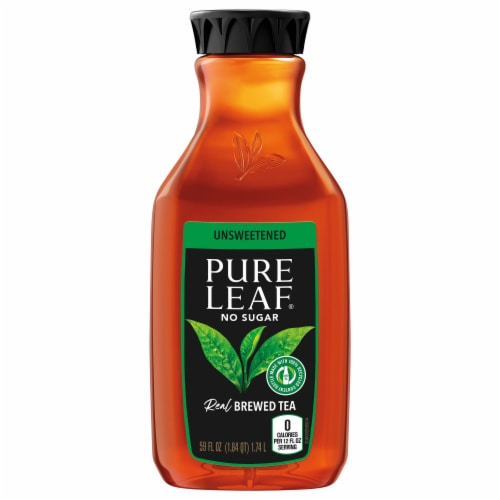 Pure Leaf Iced Tea Real Brewed Black Tea Unsweetened 59oz Bottle Perspective: front