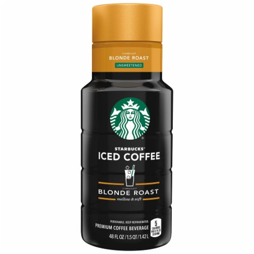 Starbucks Blonde Roast Unsweetened Iced Coffee Beverage Perspective: front
