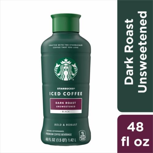 Starbucks Unsweetened Dark Roast Iced Coffee Beverage Perspective: front
